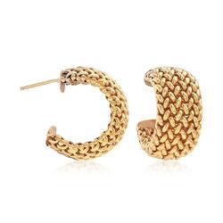 "C. 1980 Vintage 14kt Yellow Gold Woven Half-Hoop Weave Earrings. 3/4"", , default"