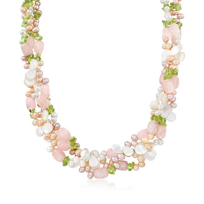 4-5mm Multicolored Cultured Pearl and Multi-Stone Torsade Necklace with Sterling Silver, , default
