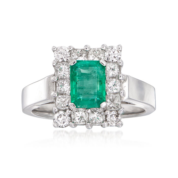1.00 Carat Emerald and .95 ct. t.w. Diamond Ring in 14kt White Gold