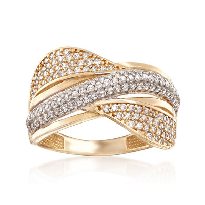 .65 ct. t.w. CZ Sash Ring in 14kt Two-Tone Gold, , default