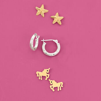 Child's 14kt Yellow Gold Unicorn Earrings with Black CZ Accents, , default