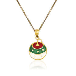 "14kt Yellow Gold Christmas Ornament Pendant Necklace. 18"", , default"