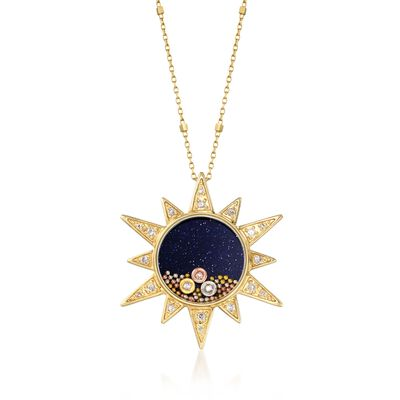 Blue Sandstone and .15 ct. t.w. Diamond Sun Pendant Necklace in 14kt Yellow Gold, , default