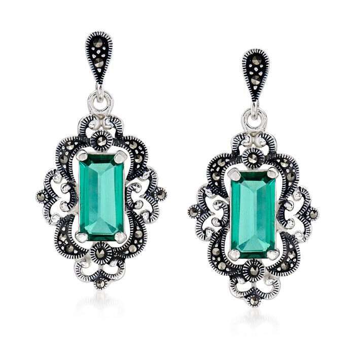 4.50 ct. t.w. Siberian Green Quartz and Swarovski Marcasite Drop Earrings in Sterling Silver, , default