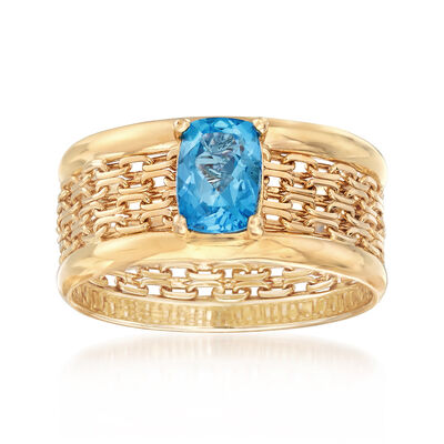 1.10 Carat Blue Topaz Bismark-Link Mesh Ring in 14kt Yellow Gold, , default