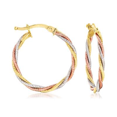Italian 14kt Tri-Colored Gold Hoop Earrings