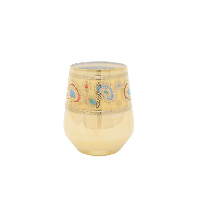 "Vietri ""Regalia"" Cream Stemless Wine Glass"