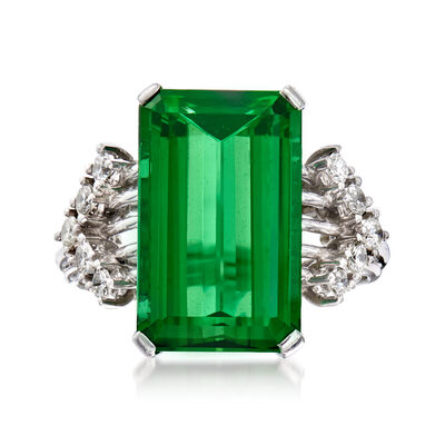 C. 1970 Vintage 7.00 Carat Green Tourmaline and .35 ct. t.w. Diamond Ring in Platinum