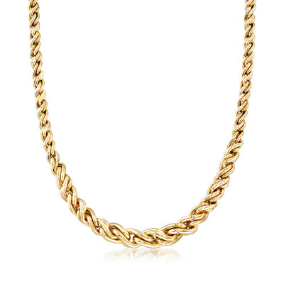 Italian 14kt Yellow Gold Graduated Wheat Necklace, , default
