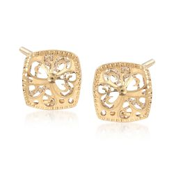 Italian 18kt Two-Tone Gold Filigree Square Earrings, , default
