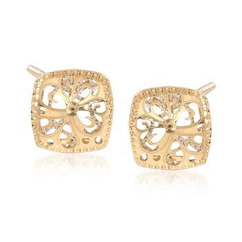 Italian 18kt Two-Tone Gold Filigree Square Earrings, , default
