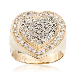 C. 1980 Vintage 1.30 ct. t.w. Diamond Heart Ring in 14kt Yellow Gold, , default