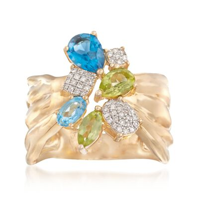 1.43 ct. t.w. Multi-Stone Ring in 18kt Gold Over Sterling