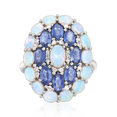 Opal, 2.00 ct. t.w. Sapphire and .14 ct. t.w. Diamond Ring in 18kt White Gold, , default