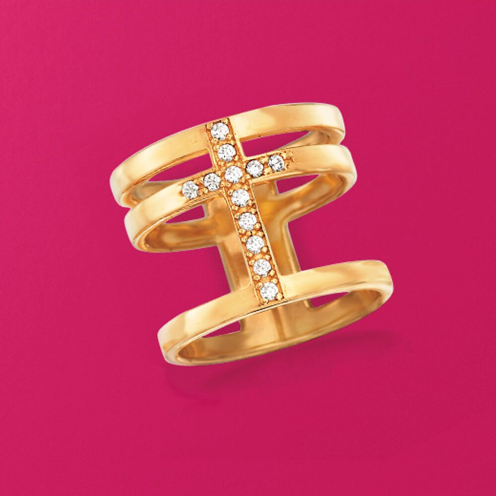 Italian .20 ct. t.w. CZ Cross Ring in 18kt Gold Over Sterling | Ross ...