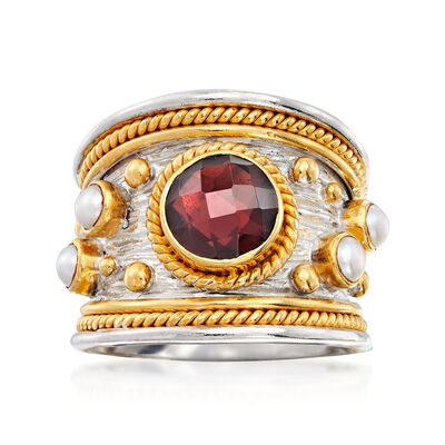 2.20 Carat Garnet and 3mm Cultured Pearl Ring in Sterling Silver and 18kt Gold Over Silver, , default