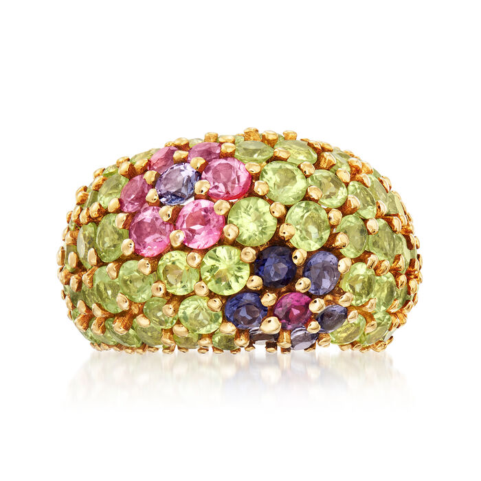 C. 1980 Vintage 7.60 ct. t.w. Multi-Gemstone Flower Ring in 18kt Yellow Gold. Size 6.5, , default