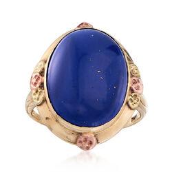C. 1910 Vintage Lapis Ring in 10kt Tri-Colored Gold, , default