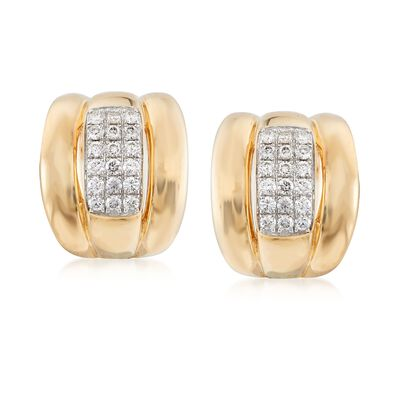 .90 ct. t.w. Pave Diamond Grooved Earrings in 14kt Yellow Gold , , default