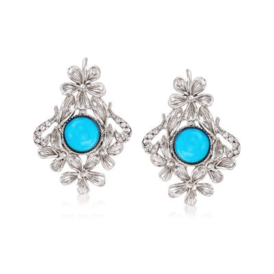 Italian 8mm Stabilized Turquoise and .20 ct. t.w. CZ Flower Drop Earrings in Sterling Silver, , default
