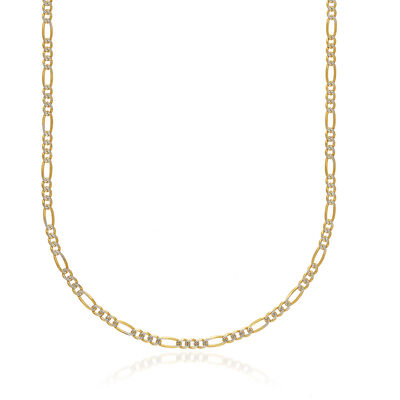Men's 3.9mm 14kt Two-Tone Gold Diamond-Cut and Polished Figaro Chain Necklace, , default