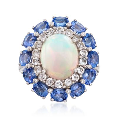 Opal and 2.40 ct. t.w. Multi-Stone Ring in Sterling Silver, , default