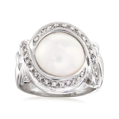 C. 1980 Vintage Cultured Mabe Pearl and .25 ct. t.w. Diamond Ring in 18kt White Gold, , default