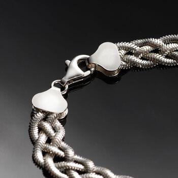 """Italian Sterling Silver Braided Snake Chain Bracelet. 8.5"""""""