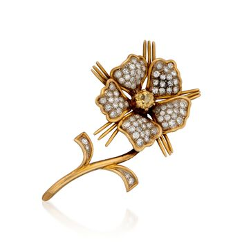 C. 1960 Tiffany Jewelry .42 Carat Yellow Beryl and 1.25 ct. t.w. Diamond Pin in 18kt Yellow Gold, , default