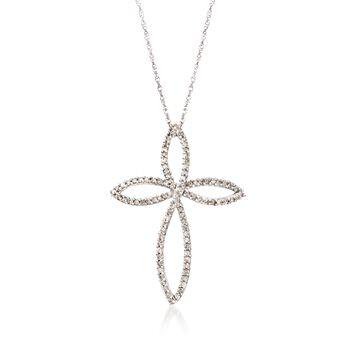 ".95 ct. t.w. Diamond Open Cross Pendant Necklace in Sterling Silver. 18"", , default"