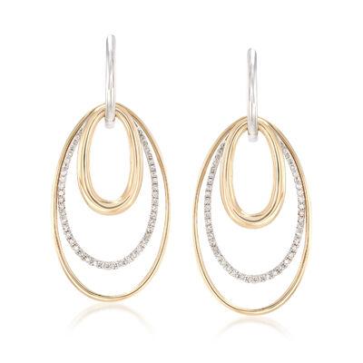 .50 ct. t.w. Diamond Multi-Oval Hoop Drop Earrings in 14kt Two-Tone Gold, , default