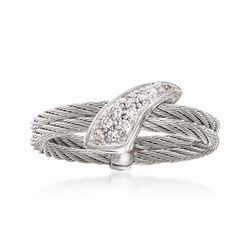 "ALOR ""Classique"" Gray Cable Ring With Diamond Accents and 18kt White Gold. Size 7, , default"