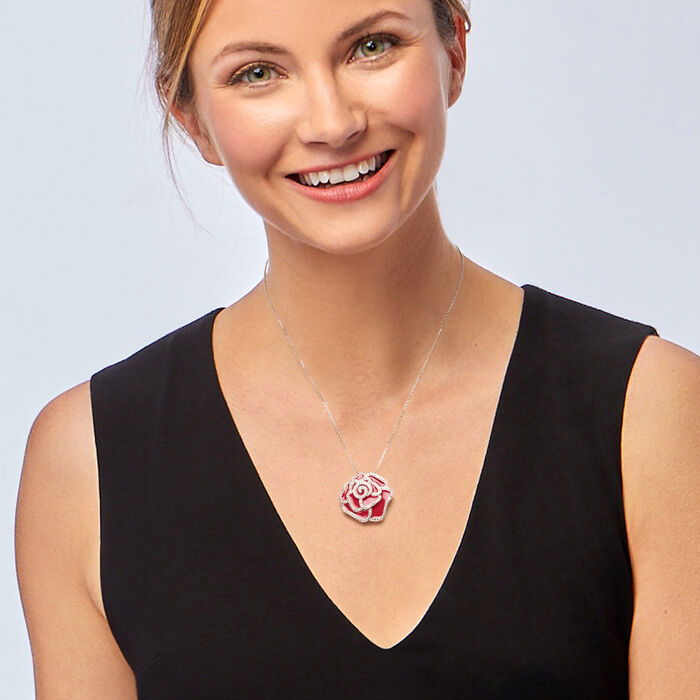 1.30 ct. t.w. White Topaz and Pink Enamel Flower Pendant Necklace 18-inch