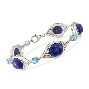 Lapis and 1.50 ct. t.w. Blue Topaz Station Bracelet With .55 ct. t.w. Diamonds in Sterling, , default