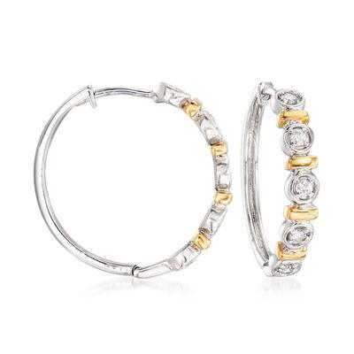 .25 ct. t.w. Bezel-Set Diamond Hoop Earrings in Sterling Silver and 14kt Yellow Gold, , default