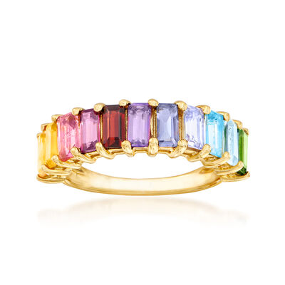 2.00 ct. t.w. Multi-Gemstone Ring in 18kt Gold Over Sterling