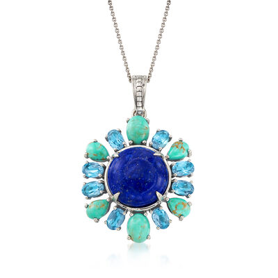 3.30 ct. t.w. Blue Topaz and Multi-Stone Pendant Necklace in Sterling Silver, , default