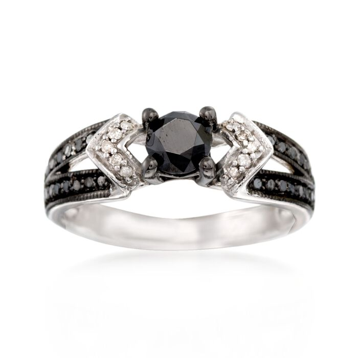 .99 ct. t.w. Black and White Diamond Ring in Sterling Silver