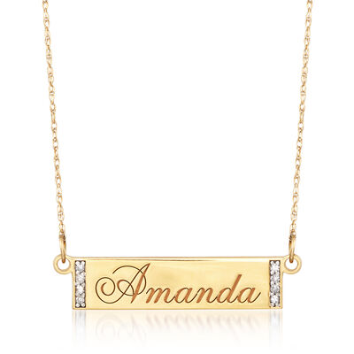 Engravable Bar Necklace with Diamond Accents in 14kt Yellow Gold, , default