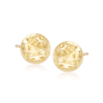 8mm Hammered Stud Earrings in 14kt Yellow Gold