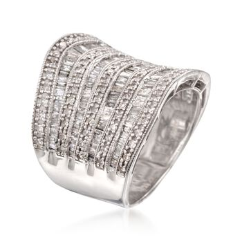 1.50 ct. t.w. Diamond Multi-Row Ring in Sterling Silver, , default