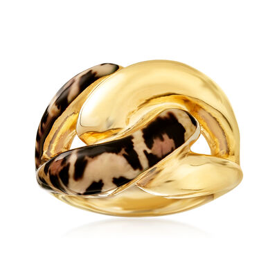 Italian Leopard-Print Enamel Link Ring in 18kt Gold Over Sterling