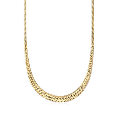 Italian 18kt Yellow Gold Graduated Cuban Link Necklace, , default