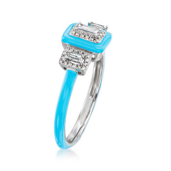 .25 ct. t.w. Diamond Ring with Turquoise Enamel in 18kt White Gold. Size 7
