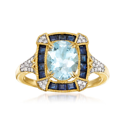 1.50 Carat Aquamarine and .70 ct. t.w. Sapphire Ring with .12 ct. t.w. Diamonds in 14kt Yellow Gold