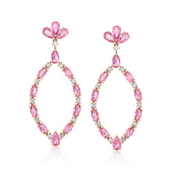 4.80 ct. t.w. Pink Sapphire and .47 ct. t.w. Diamond Oval Drop Earrings in 18kt Rose Gold , , default