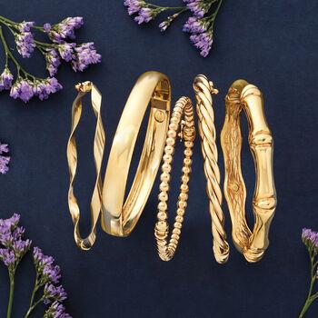 "Italian 14kt Yellow Gold Ribbon Bangle Bracelet. 8"", , default"