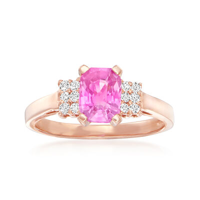 1.10 Carat Pink Sapphire and .15 ct. t.w. Diamond Ring in 14kt Rose Gold