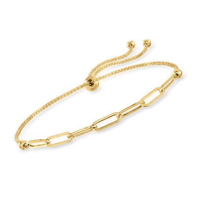 14kt Yellow Gold Paper Clip Link Bolo Bracelet