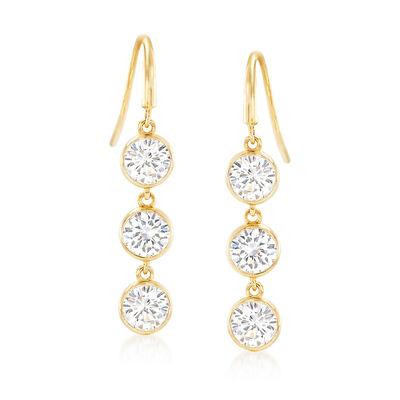 2.10 ct. t.w. Bezel-Set CZ Triple Drop Earrings in 14kt Yellow Gold, , default